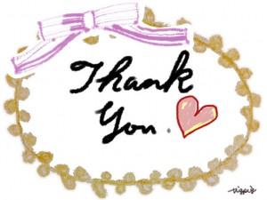 Thank You の手書き文字とハートとピンクのリボンとピコットレースのラベルのフリー素材:640×480pix