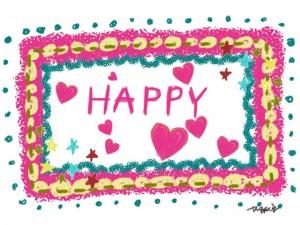 ポップなHAPPYの手書き文字とピンクのハートと星とドットのフレームのフリー素材:640×480pix