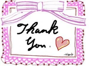 Thank Youの手書き文字とハートとリボンとレースのラベル風のフリー素材:640×480pix