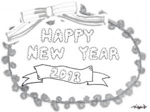 モノトーンのもこもこの手書き文字HAPPY NEW YEAR 2013とリボンとピコットレースのラベルのフリー素材:640×480pix