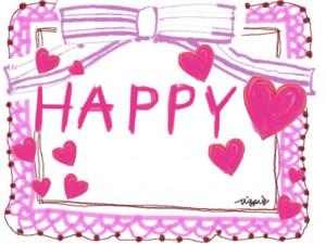 ピンクのハートとレースとリボンのHAPPYの手書き文字のラベルのフリー素材:480×640pix