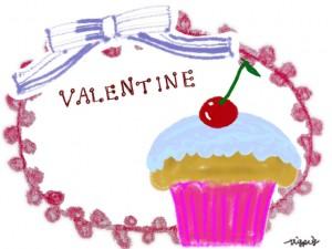 サクランボのカップケーキとVALENTINEの手書き文字とリボンとレースのフレーム:640×480pix
