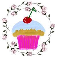 アイコンのフリー素材:サクランボのカップケーキと薔薇の枠;200×200pix