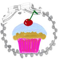 アイコンのフリー素材:サクランボのカップケーキとグレーのリボンとレースの枠;200×200pix