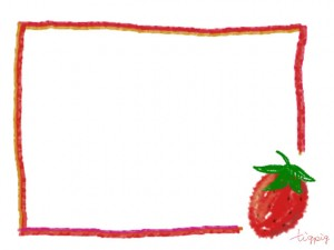 大人可愛いイチゴとラフなラインの囲み枠のフリー素材:640×480pix