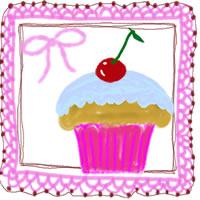 サクランボのカップケーキと大人可愛いピンクのレースとリボンのアイコンのフリー素材:200×200pix