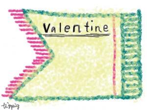 valentineの手書き文字とパステルグリーンのラベル風のフレームのフリー素材:640×480pix