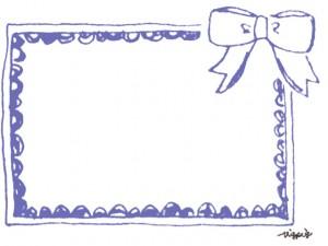 大人可愛いくすんだブルーのリボンとフレームのフリー素材:640×480pix