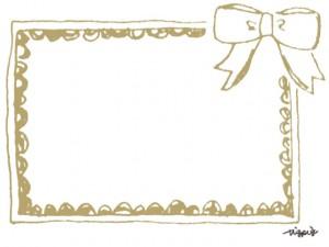 大人可愛いくすんだ黄土色のリボンと手描きラインのフレームのフリー素材:640×480pix