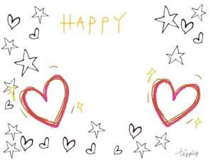 手描きのハートと星と「HAPPY」の文字のフリー素材:640×480pix