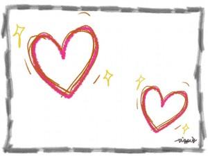手描きのハートときらきらとシンプルな鉛筆ラインのフリー素材:640×480pix
