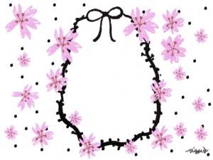 大人可愛い桜いっぱいのイラストとリボンとドットのフレームのフリー素材:640×480pix
