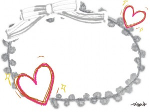 大人可愛い手描きのハートとフレーのリボンとピコットレースのフレームのフリー素材:640×480pix