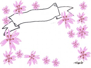 大人可愛いピンクの桜とリボンのフリー素材:640×480pix