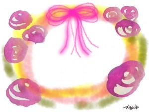 大人可愛いピンクのリボンと水彩の薔薇と楕円のフレームのフリー素材:640×480pix
