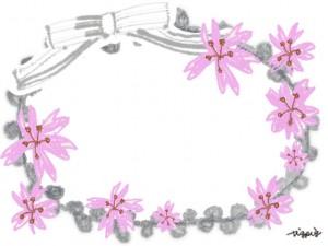大人可愛い手描きの桜とグレーのリボンとピコットレースのフレームのフリー素材:640×480pix