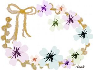 パステルカラーの花と芥子色のリボンのラベル風フレームのフリー素材:480×640pix