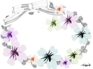 大人可愛いモノトーンのリボントと花の春イラストのフレームのフリー素材
