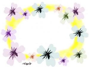 大人可愛い黄色のにじみと花のイラストいっぱいの春のフレームのフリー素材