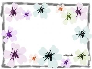 春らしいパステルカラーの花とラフな鉛筆ラインのフレームのフリー素材