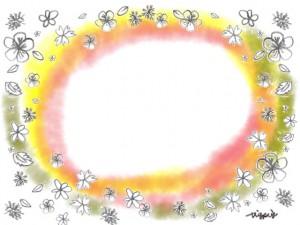 春のフレーム:大人可愛い鉛筆画きの小花と水彩のにじみの背景のフリー素材