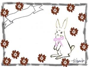 春のイラストのフリー素材:ガーリーで大人可愛いウサギとリボンと小花いっぱいの鉛筆枠のフレーム