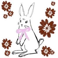 ガーリーなうさぎと花のアイコン(twitter,mixi,ブログ可)のフリー素材
