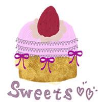 ガーリーで大人可愛いイチゴケーキのアイコン(twitter,mixi,ブログ可)のフリー素材