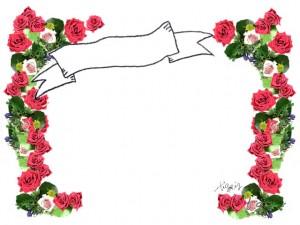 フリー素材:エレガントで大人可愛い薔薇の花いっぱいのフレーム