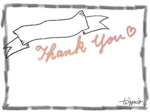 フリー素材:「Thank you」の手書き文字と鉛筆のラフなラインのフレーム