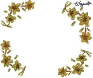 大人可愛い手描きの小花のフレームのフリー素材