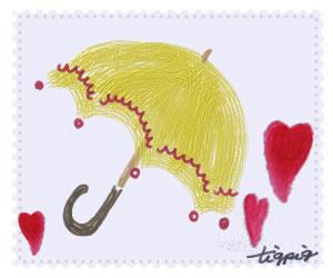 HP制作に使える大人可愛い切手風デザインの黄色の傘とハートのイラストのフリー素材