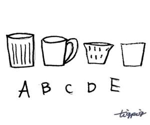 HP制作に使える大人可愛い北欧雑貨風マグカップとA,B,C,D,Eの手書き文字のフリー素材