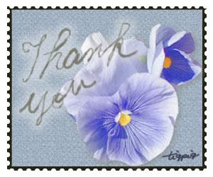 ネットショップ制作に使える切手風デザインの「Thank you」の手書き文字と花のフリー素材