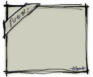 大人可愛いHP制作に使えるNewの手書き文字とラフなラインのナチュラルカラーのフレームのフリー素材