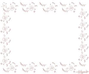 夏のHP制作に使えるくすんだピンクの乙女な小花のフレームのフリー素材