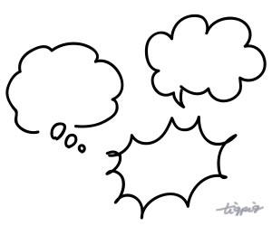 ネットショップ制作に使える手描きの雲型とパンク型のモノトーンのフキダシのフリー素材