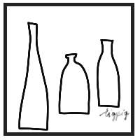 HP制作やtwitterアイコンにも使える北欧風のシンプルなモノトーンの瓶のイラストのフリー素材