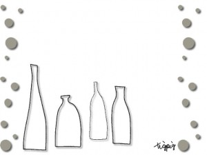 大人可愛いHP制作に使えるグレーのドットと北欧風の瓶のイラストのフリー素材