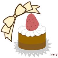 HP制作に使えるガーリーなイチゴケーキとリボンのイラストのフリー素材