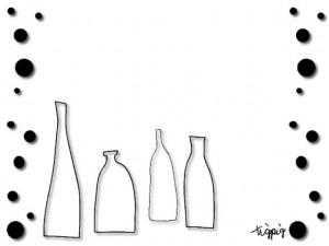 大人可愛いHP制作に北欧風デザインのシンプルな瓶とドットのフレームのフリー素材