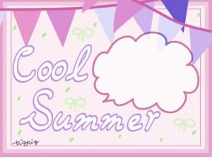 夏のHP制作に使えるピンク系の旗とフキダシとCool Summerの手書き文字のフレームのフリー素材