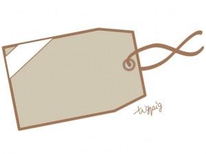 大人可愛いHP制作に使えるシンプルなクラフト紙風のタグのイラストのフリー素材