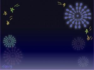 夏のHP制作に使える花火の夜空のフレームのフリー素材