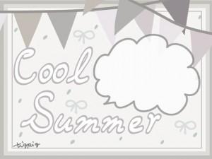 夏のHP制作に使えるグレー系の旗とフキダシとCool Summerの手書き文字のフレームのフリー素材