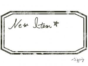 カフェ,雑貨のネットショプ制作に使えるスタンプみたいなラベルとNew Itemの手書き文字のフレームのフリー素材