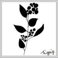 秋のアイコンに使える北欧風デザインの大人可愛い花のシルエットのフリー素材
