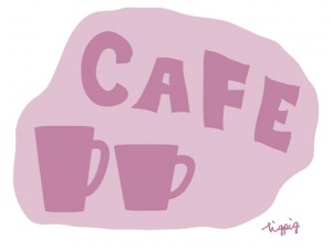 大人可愛いHP制作に使えるくすんだピンクのマグカップとCAFEの手書き文字のフリー素材