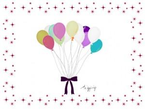 誕生日やハロウィンのHP制作に使える大人可愛い風船の束とキラキラのフレームのフリー素材