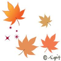 秋のHP制作のアイコンに使えるフラットデザイン風の紅葉のイラストのフリー素材:200×200pix